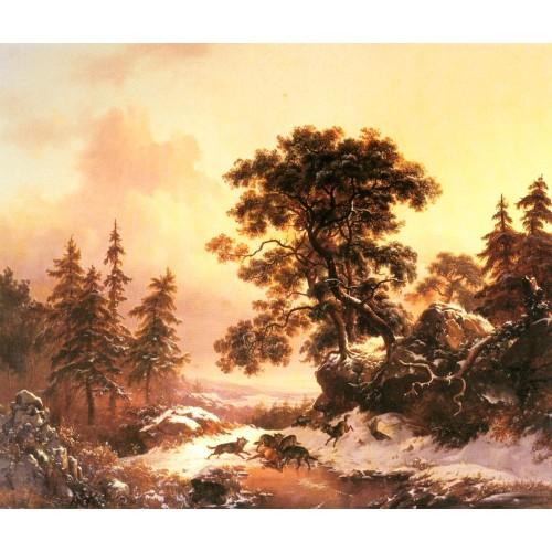 Wolves in a Winter Landscape