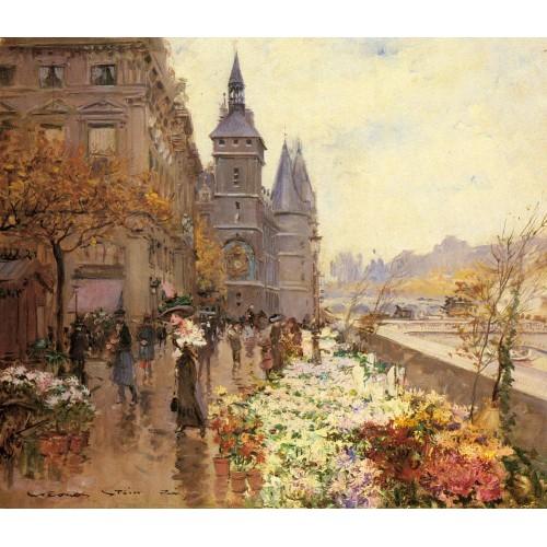 A Flower Market Along the Seine
