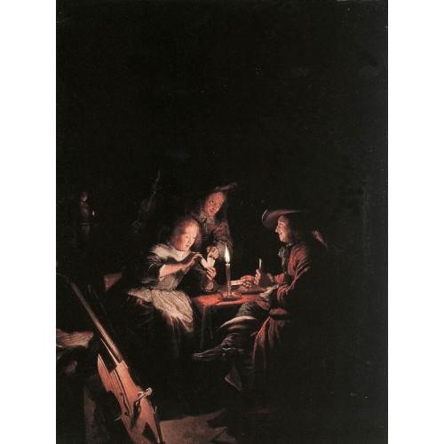 Cardplayers at Candlelight