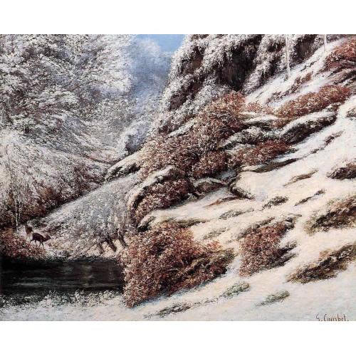 Deer in a Snowy Landscape