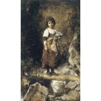 A Peasant Girl on a Footbridge