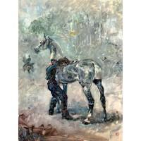 Artilleryman Saddling His Horse