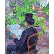 Desire Dehau Reading a Newspaper in the Garden