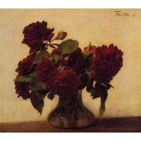 Roses Foncees sur Fond Clair