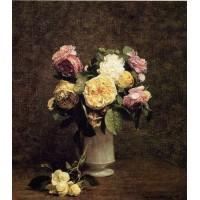 Roses in a White Porcelin Vase