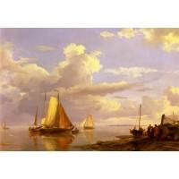 Fishing Boats Off The Coast At Dusk