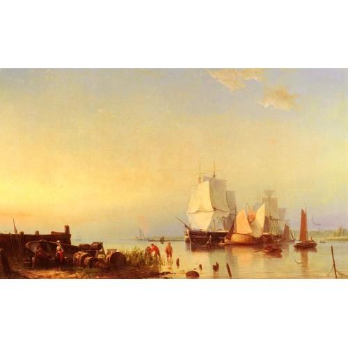 Three Mast Ships at Anchor