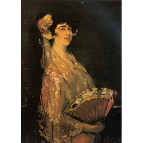An Elegant Lady Fanning Herself