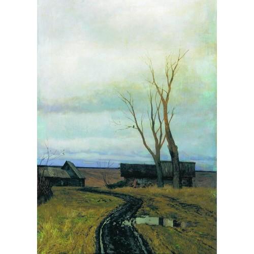 Autumn road in a village 1877
