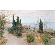Garden in yalta cypress trees 1886