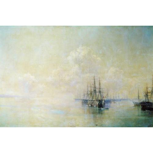 Black sea fleet squadron before going on the raid sevastopol 1895