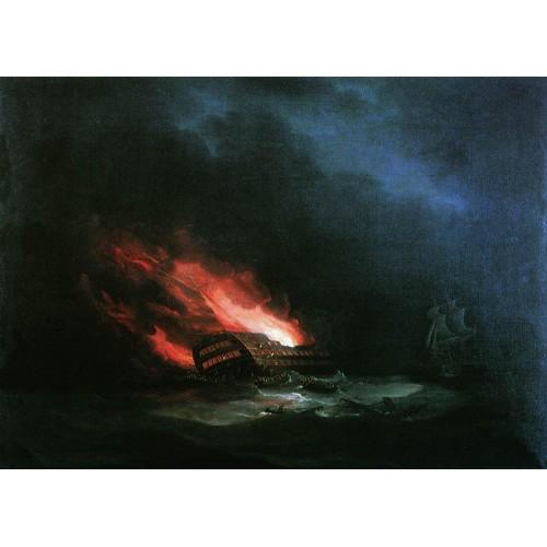 Burning ship the episode of the russian turkish war