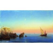 Calm sea rocky coast 1860