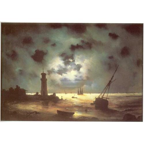 Coast of sea at night 1847