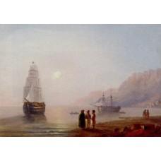 Conversation on the shore dusk