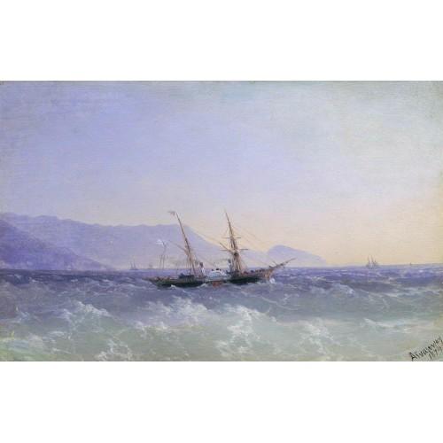 Crimean landscape with a sailboat 1874
