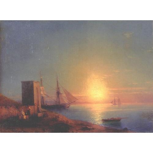 Figures in a coastal landscape at sunset