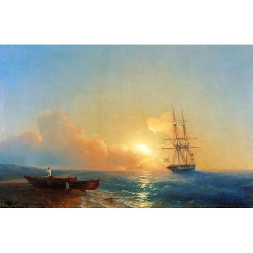 Fishermen on the coast of the sea 1852