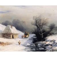 Little russian ox cart in winter 1866