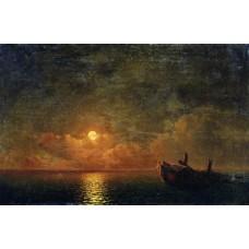 Moonlit night wrecked ship 1871