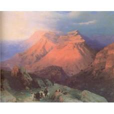 Mountain village gunib in daghestan view from the east 1869