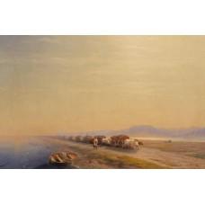 Ox train on the sea shore 1860