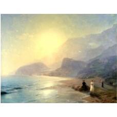 Pushkin and countess raevskaya by the sea near gurzuf and partenit 1886