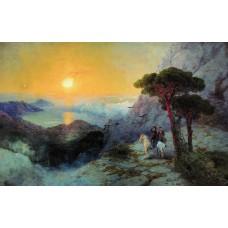 Pushkin at the top of the ai petri mountain at sunrise 1899