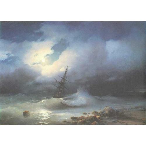 Rough sea at night 1853