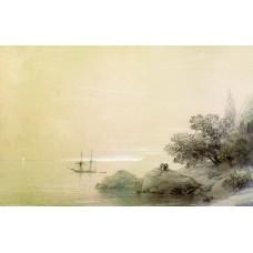 Sea against a rocky shore 1851