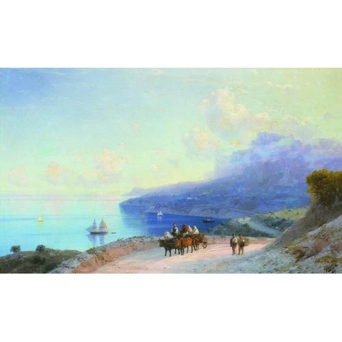 Sea coast crimean coast near ai petri 1890
