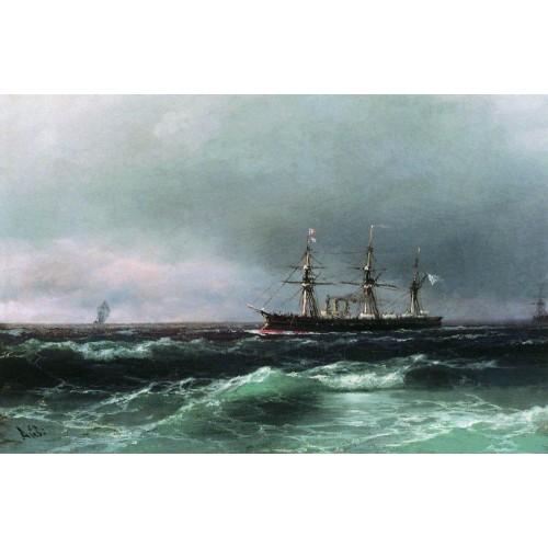 Ship at sea 1870
