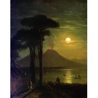 The bay of naples at moonlit night vesuvius 1840