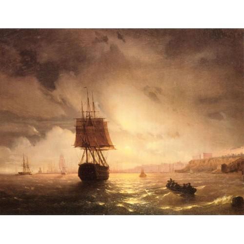 The harbor at odessa on the black sea 1852