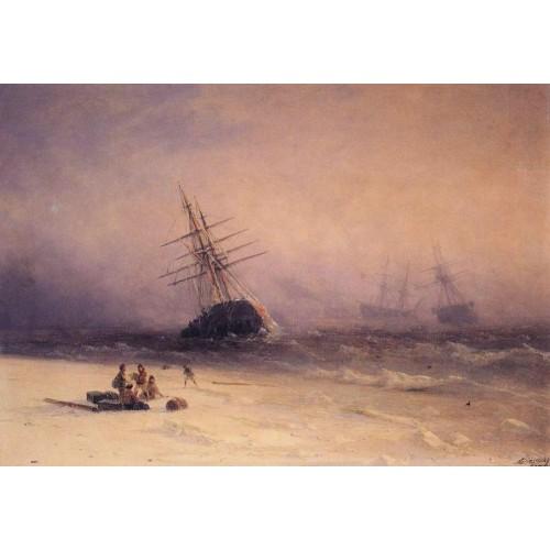 The shipwreck on northern sea 1875
