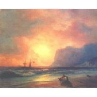 The sunset on sea 1866