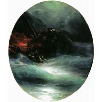 Wreck of a merchant ship in the open sea shipwreck 1883