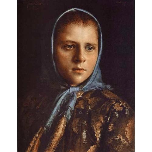 Russian Girl in a Blue Shawl