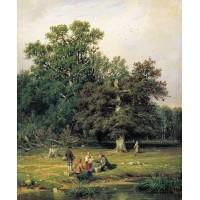 Gathering mushrooms 1870