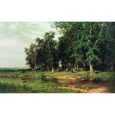 Mowing in the oak grove 1874