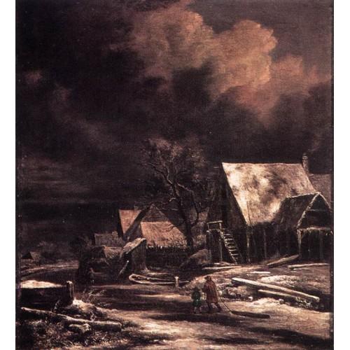 Village at Winter at Moonlight