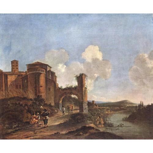 Italian Landscape with SS Giovanni e Paolo in Rome