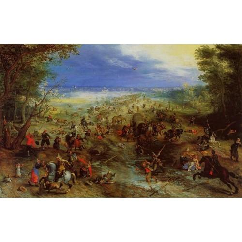 Equestrian Battle near a Mill