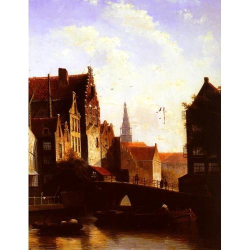 Figures on a Bridge in a Dutch Town