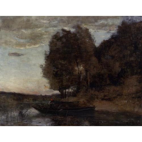 Fisherman Boating along a Wooded Landscape