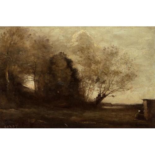 Peasant Girl near a Cabin
