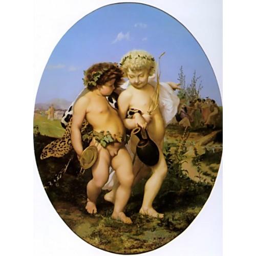 Drunken Bacchus and Cupid