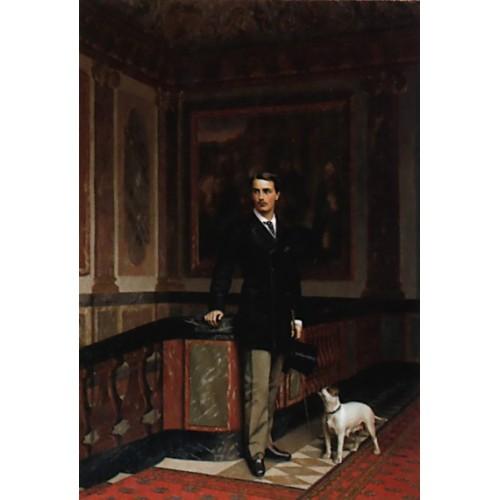 The Duc de La Rochefoucauld Doudeauville with his Terrier