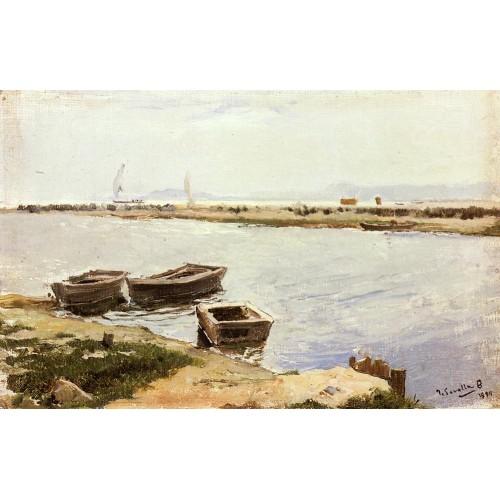 Three Boats By A Shore