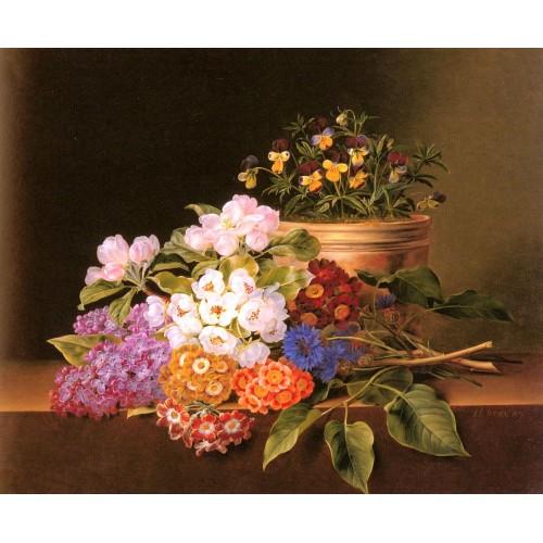 Apple Blossoms Lilac Violas Cornflowers and Primroses on